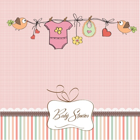 hanging girl: baby girl shower card