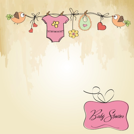 sweet background: baby girl shower card
