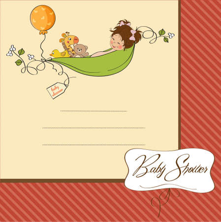 siting: little girl siting in a pea been  baby announcement card  Illustration