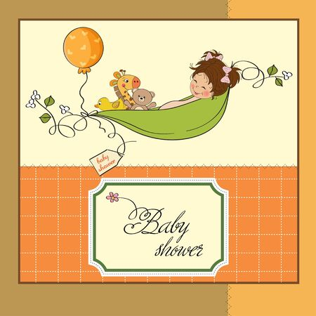 little girl siting in a pea been  baby announcement card Stock Vector - 12835057