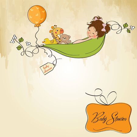 little girl siting in a pea been  baby announcement card Stock Vector - 12835071