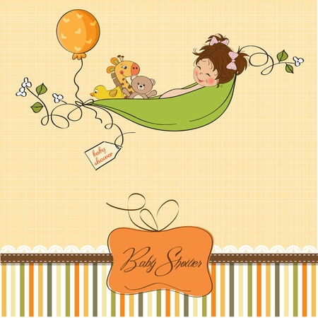 little girl siting in a pea been  baby announcement card  Vector