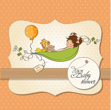 little girl siting in a pea been  baby announcement card Stock Vector - 12835072