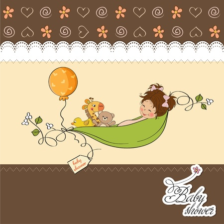 little girl siting in a pea been  baby announcement card Stock Vector - 12835070