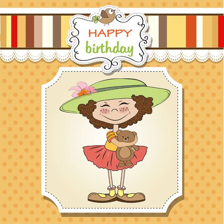 cute birthday greeting card with girl and her teddy bear Stock Vector - 12897167