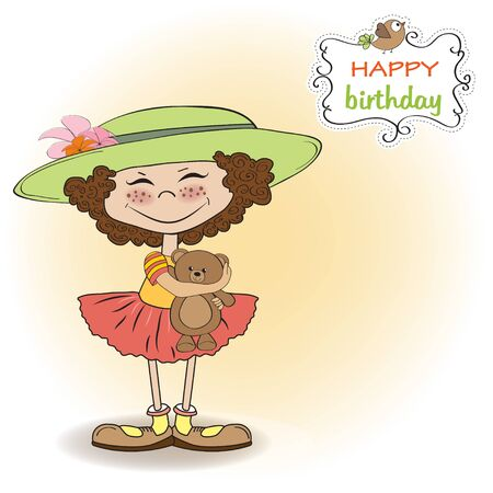 cute birthday greeting card with girl and her teddy bear Stock Vector - 12897173