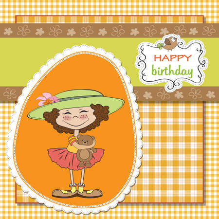 cute birthday greeting card with girl and her teddy bear  Vector