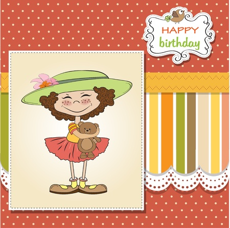 cute birthday greeting card with girl and her teddy bear  Stock Vector - 12897164