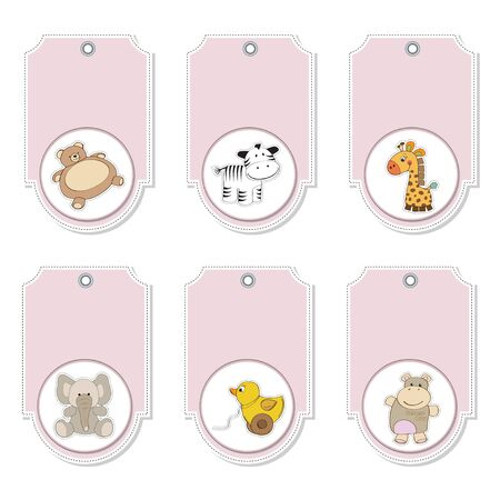 cartoon animals labels set  Stock Vector - 12897191
