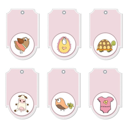 cartoon animals labels set  Vector