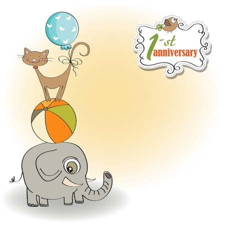 1st birthday: first anniversary card with pyramid of animals Illustration