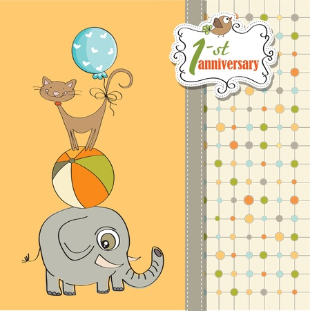 first birthday: first anniversary card with pyramid of animals Illustration