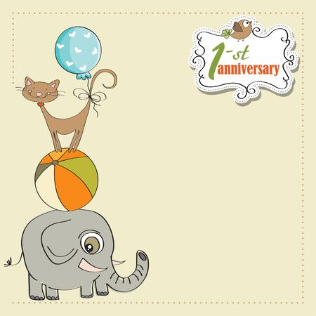 first anniversary card with pyramid of animals Stock Vector - 12884730