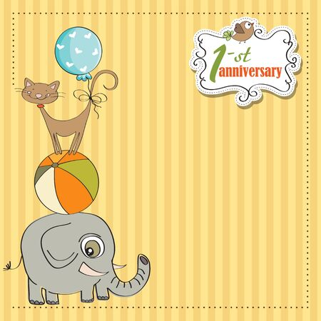 first anniversary card with pyramid of animals Stock Vector - 12884732