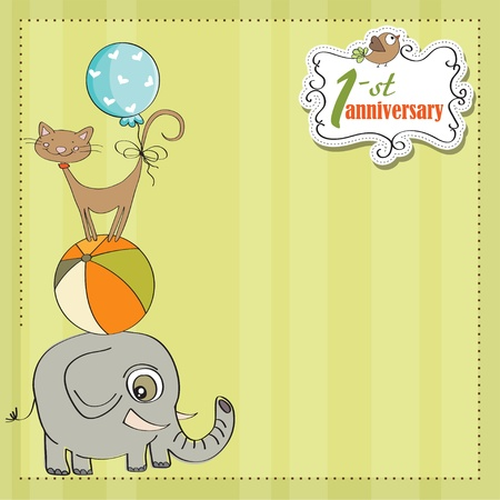 first love: first anniversary card with pyramid of animals Illustration