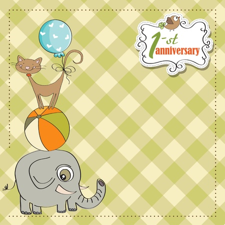 first anniversary card with pyramid of animals Stock Vector - 12884733