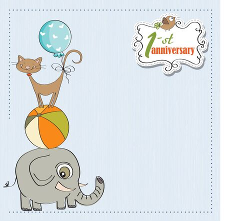 first anniversary card with pyramid of animals Vector