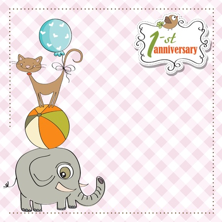 first anniversary card with pyramid of animals Stock Vector - 12884735