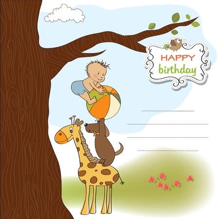 niño y niña: divertido cumpleaños de dibujos animados de tarjetas de felicitación