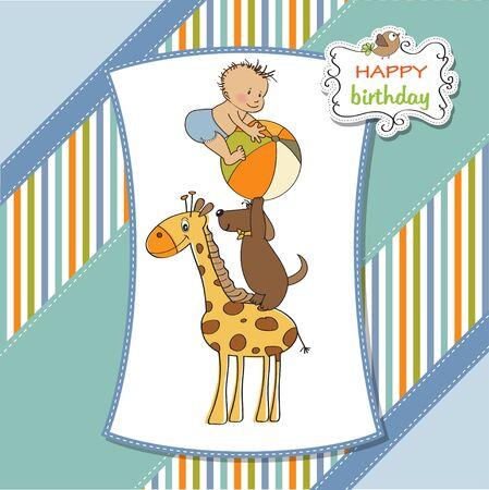 funny cartoon birthday greeting card Illustration