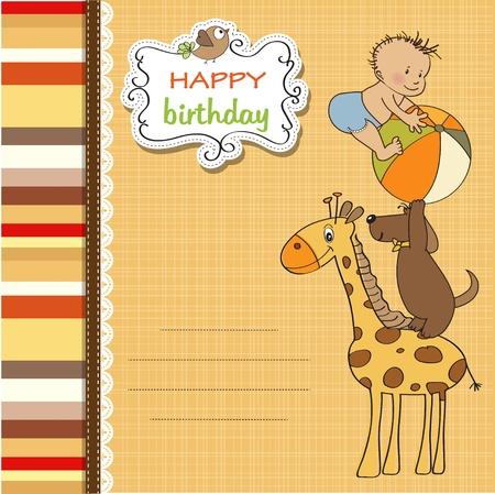 funny cartoon birthday greeting card Stock Vector - 12897277