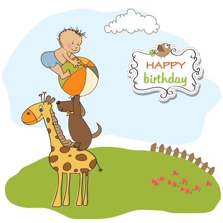 funny cartoon birthday greeting card Vector