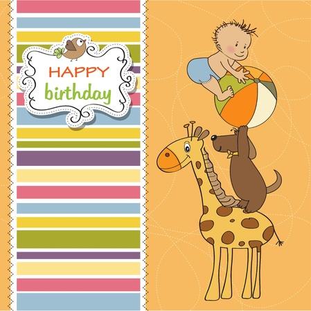 funny cartoon birthday greeting card Stock Vector - 12897258