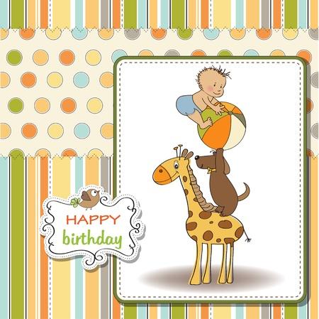 cute young farm girl: funny cartoon birthday greeting card Illustration