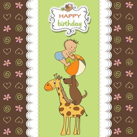 playfulness: funny cartoon birthday greeting card Illustration