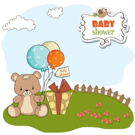 baby shoher card with cute teddy bear Vector