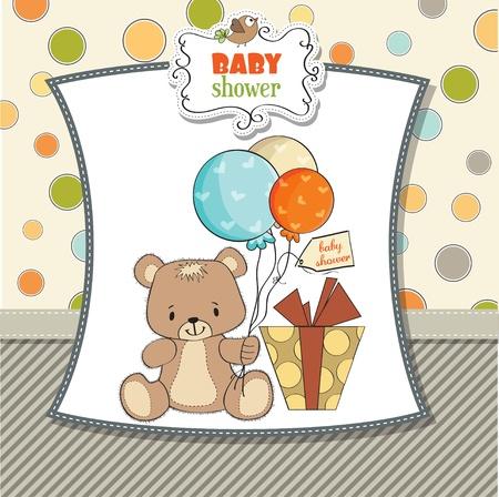 cute girl with teddy bear: baby shoher card with cute teddy bear