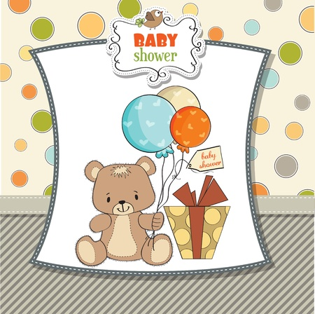 little girl sitting: baby shoher card with cute teddy bear