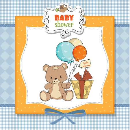baby shoher card with cute teddy bear Stock Vector - 12897272