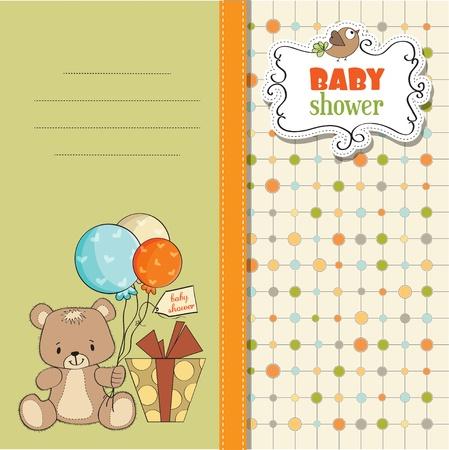 teddy bear: b�b� shoher carte avec Nounours Illustration