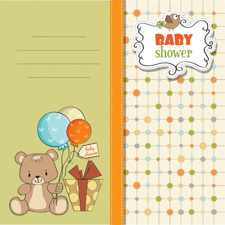 baby shoher card with cute teddy bear Vector