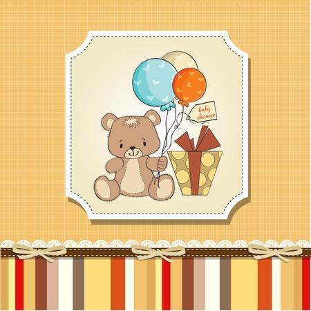 cute teddy bear: baby shoher card with cute teddy bear