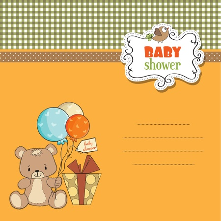 baby shoher card with cute teddy bear Stock Vector - 12897269