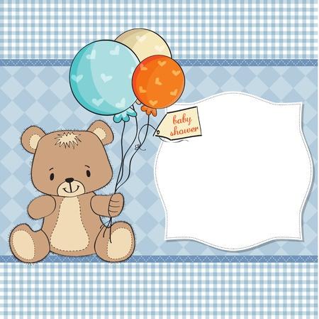 baby shoher card with cute teddy bear Stock Vector - 12897252
