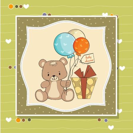 baby shoher card with cute teddy bear Stock Vector - 12897243