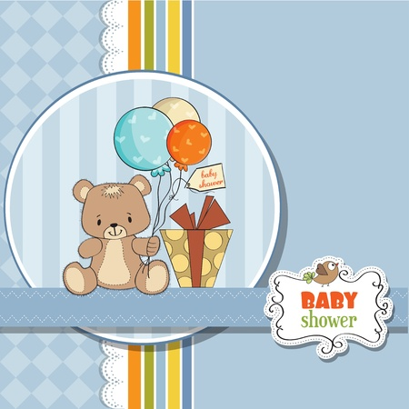 baby boy shower: baby shoher card with cute teddy bear