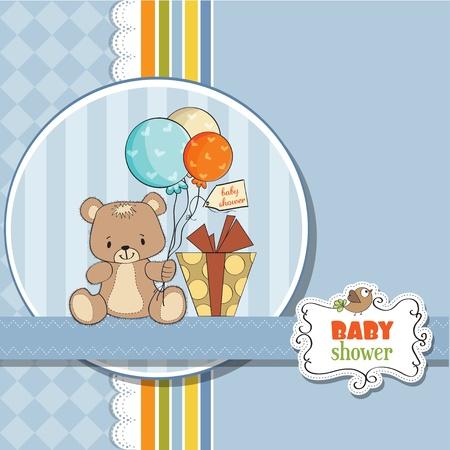 Shoher beb� tarjeta con osito de peluche