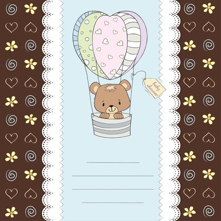 hot announcement: delicada del beb� tarjeta de ducha con osito de peluche