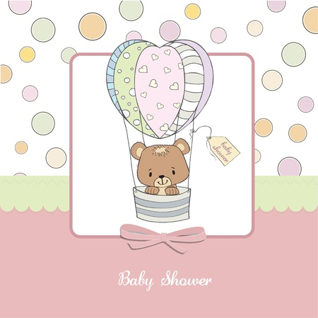delicate baby shower card with teddy bear Vector
