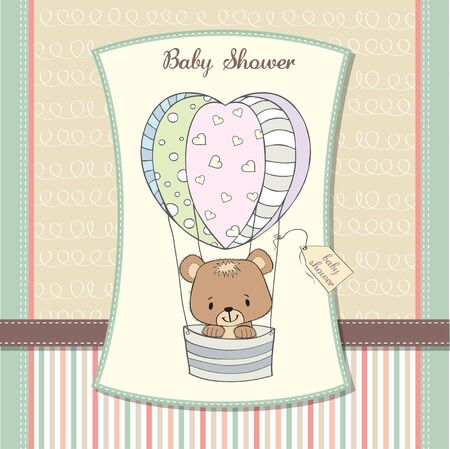 delicate baby shower card with teddy bear Stock Vector - 12897249