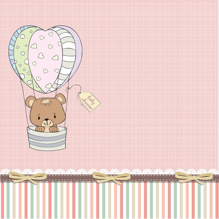 float fun: delicate baby shower card with teddy bear Illustration