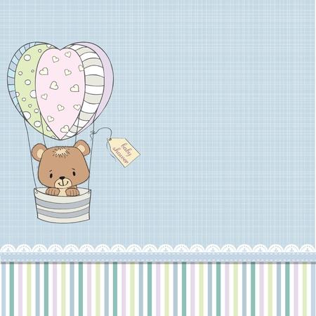 shower b�b�: d�licate carte de douche de b�b� avec ours en peluche