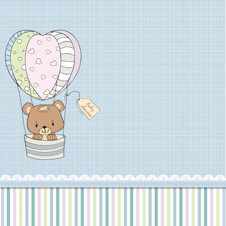 cute baby girls: delicate baby shower card with teddy bear Illustration