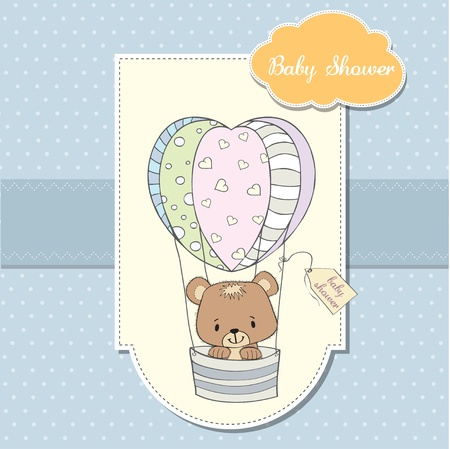 delicate baby shower card with teddy bear Stock Vector - 12897260