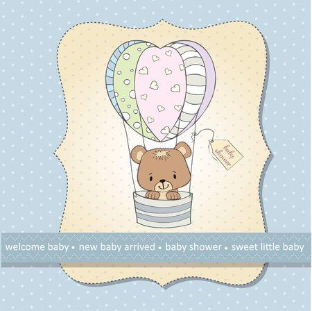 delicada del bebé tarjeta de ducha con osito de peluche
