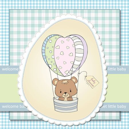 delicate baby shower card with teddy bear Stock Vector - 12897280